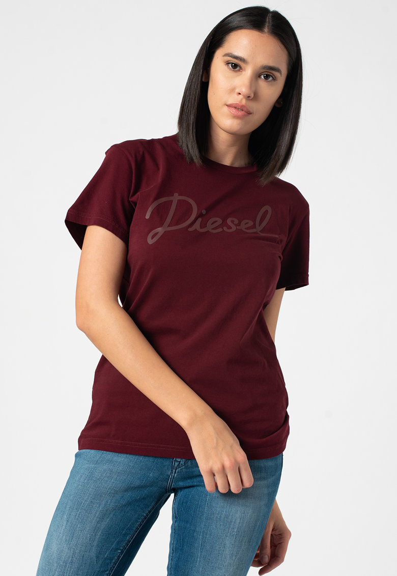 Tricou cu imprimeu logo si decolteu la baza gatului Sully