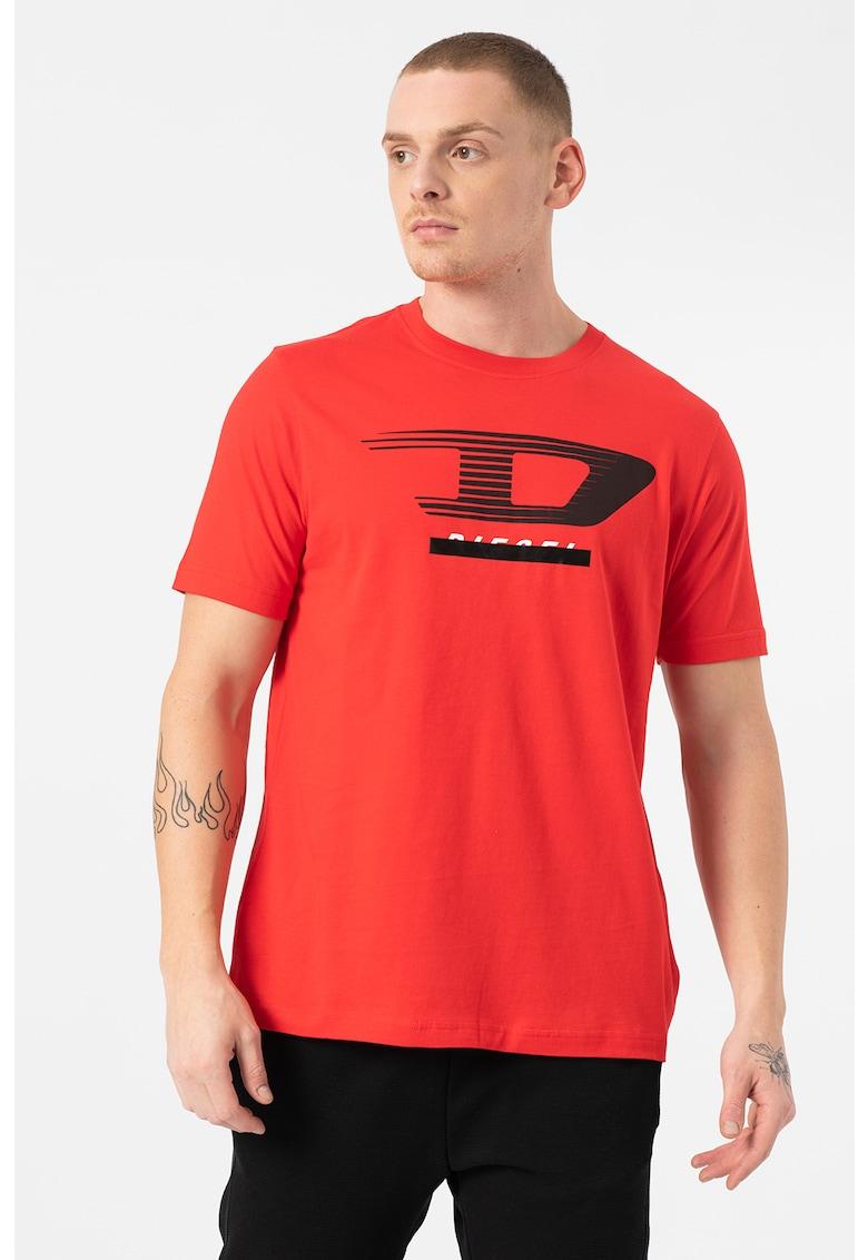 Tricou cu decolteu la baza gatului si imprimeu logo T-Just