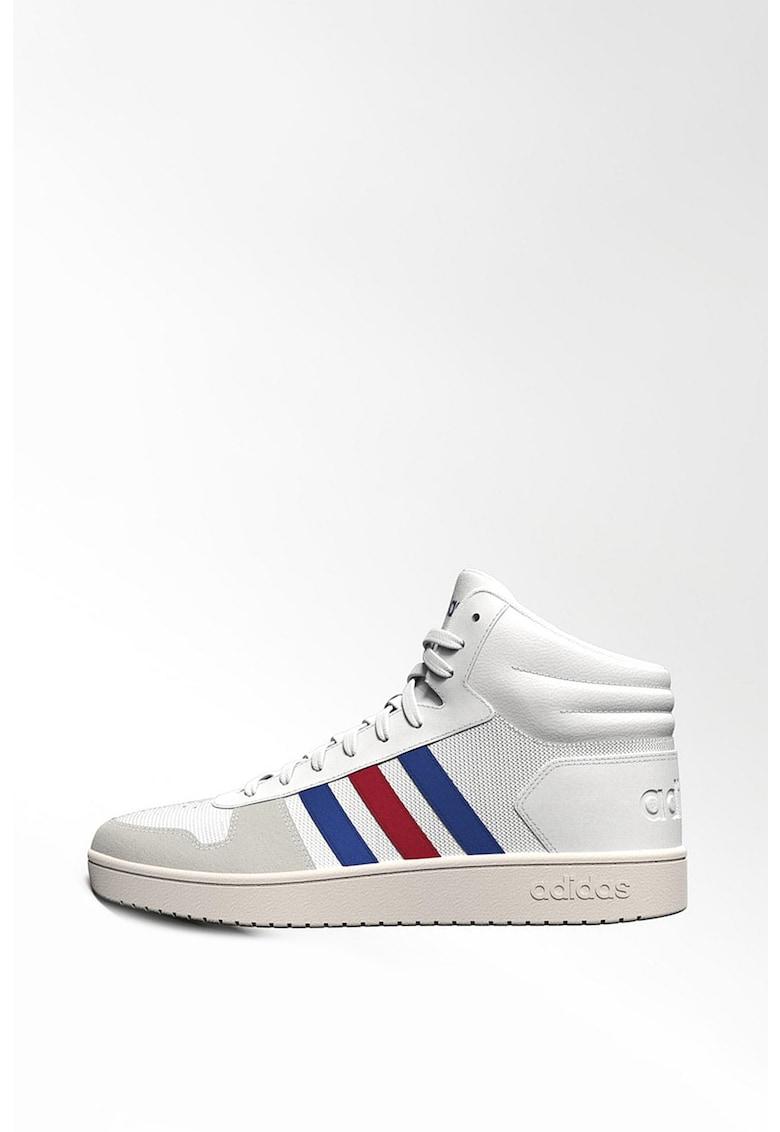 Pantofi sport mid-hi de piele si material textil HOOPS 2.0 imagine