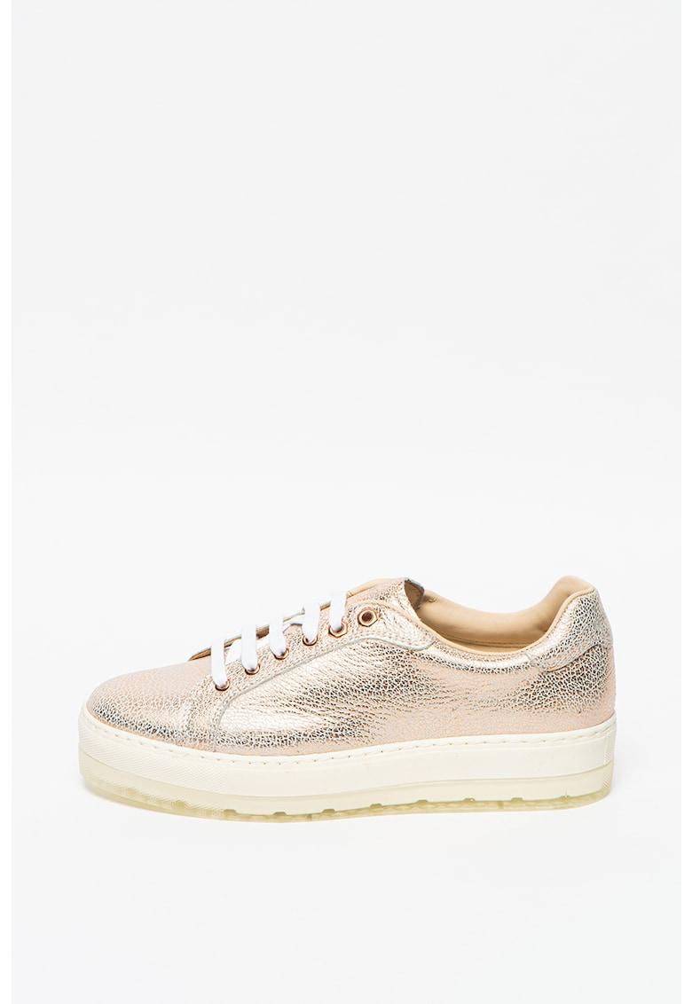 Pantofi de piele cu design metalizat S-Andyes