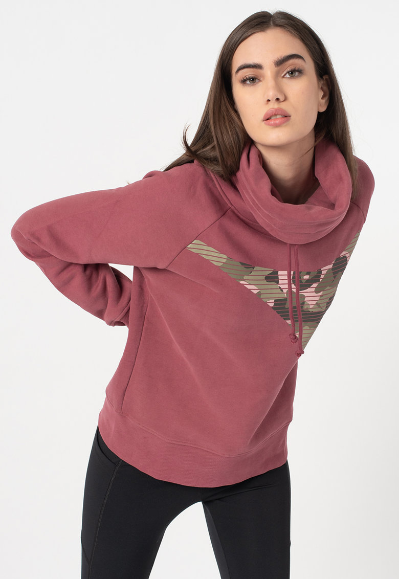 Bluza sport cu decolteu drapat si imprimeu logo Brushed