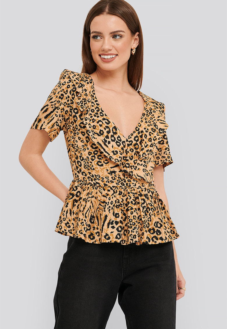 Bluza peplum cu animal print
