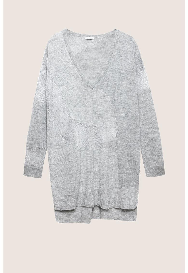 Pulover din amestec de lana si mohair cu decolteu in V