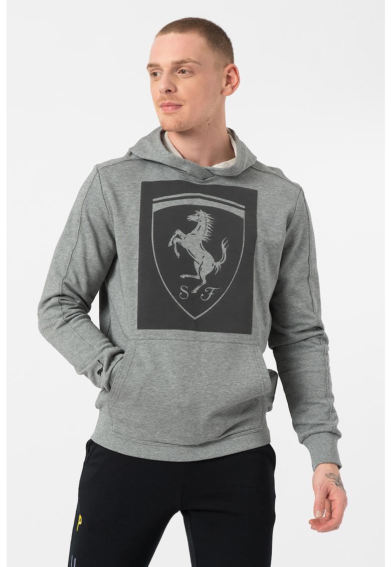 Hanorac cu imprimeu si buzunar kangaroo Ferrari Big Shield