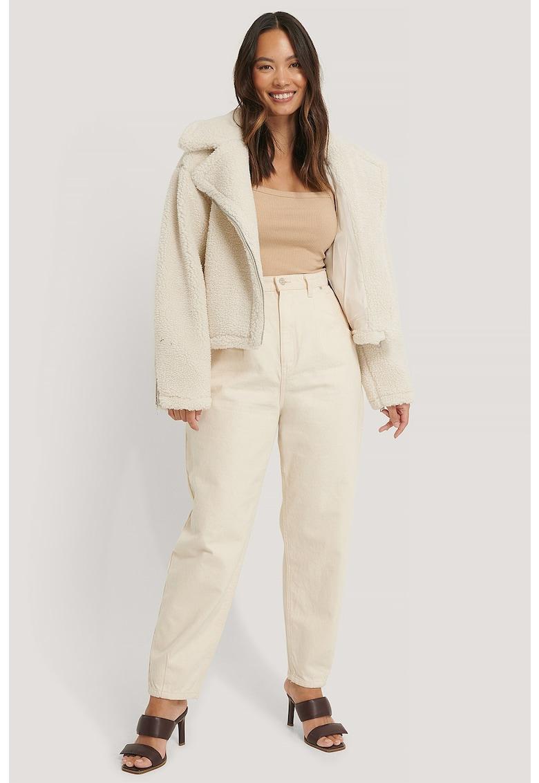 Jacheta de blana shearling sintetica si revere spradimensionate de la NA-KD