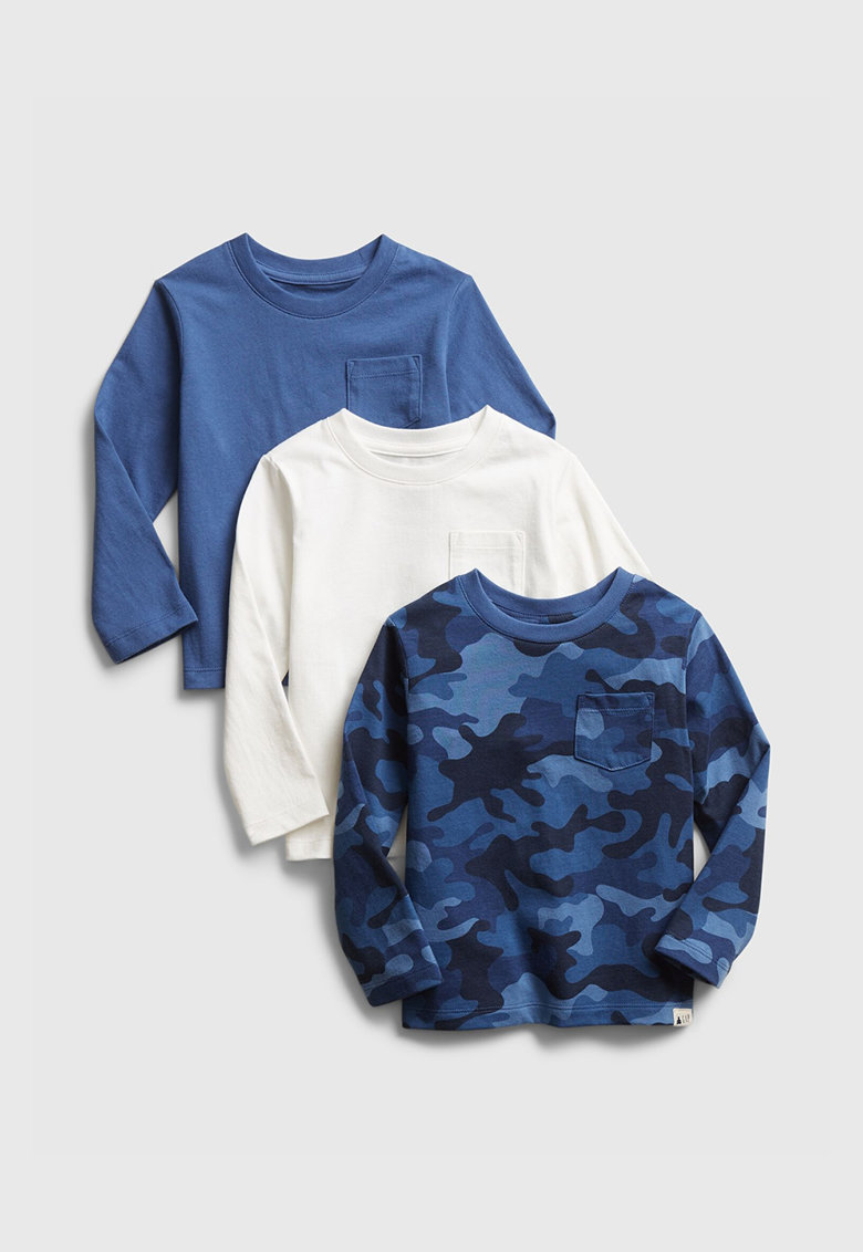 Set de bluza cu decolteu la baza gatului si buzunare pe piept - 3 piese imagine