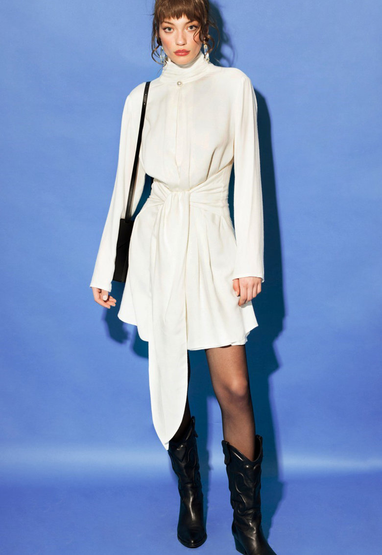 Rochie mini din amestec de lana cu guler inalt cu insertii elastice Kaleida 2.0 imagine