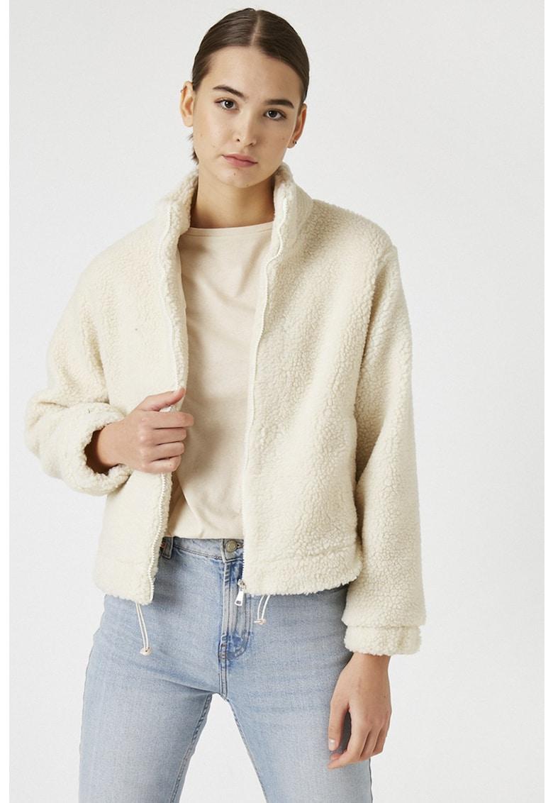 Jacheta scurta de blana shearling sintetica imagine fashiondays.ro