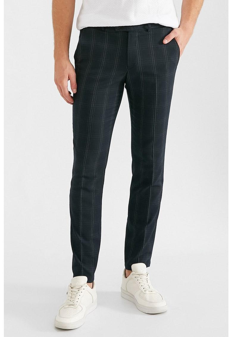Pantaloni chino slim fit cu model in carouri
