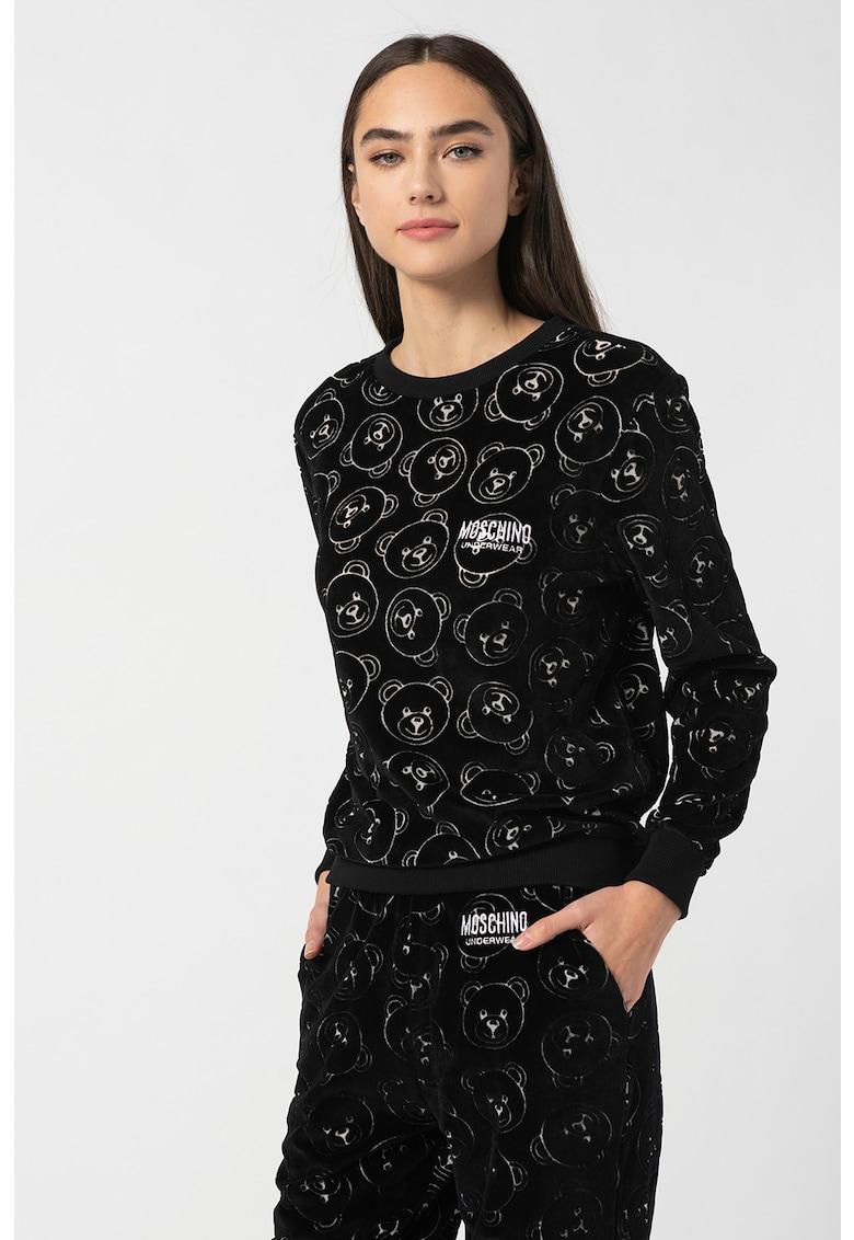 Moschino Bluza de pijama cu model monograma