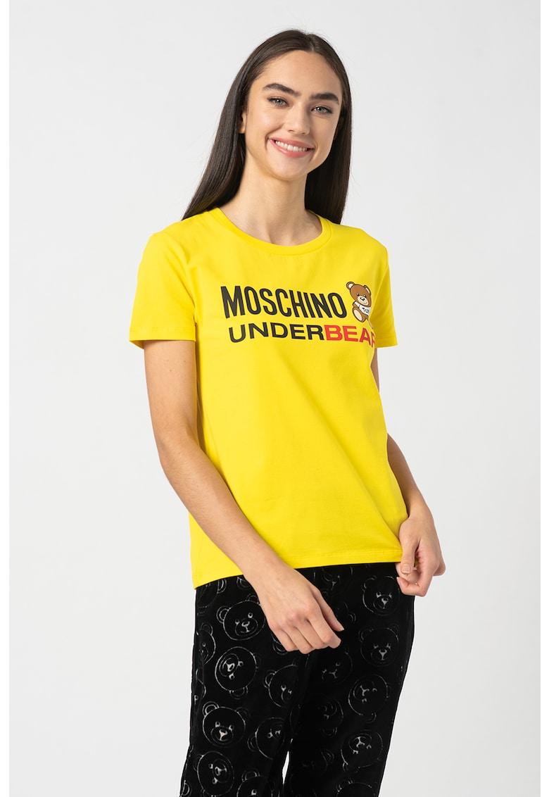 Tricou de casa cu imprimeu logo Moschino imagine 2021