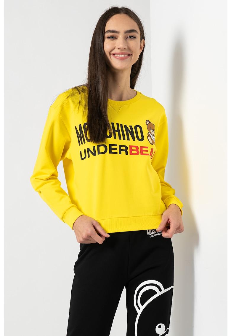 Bluza sport de casa cu imprimeu logo supradimensionat poza fashiondays