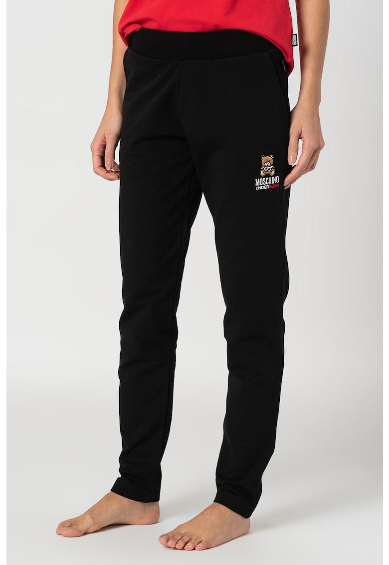 Moschino Pantaloni de pijama cu logo brodat