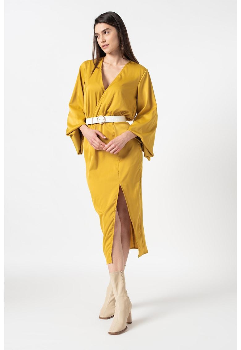 Rochie midi petrecuta de satin imagine fashiondays.ro