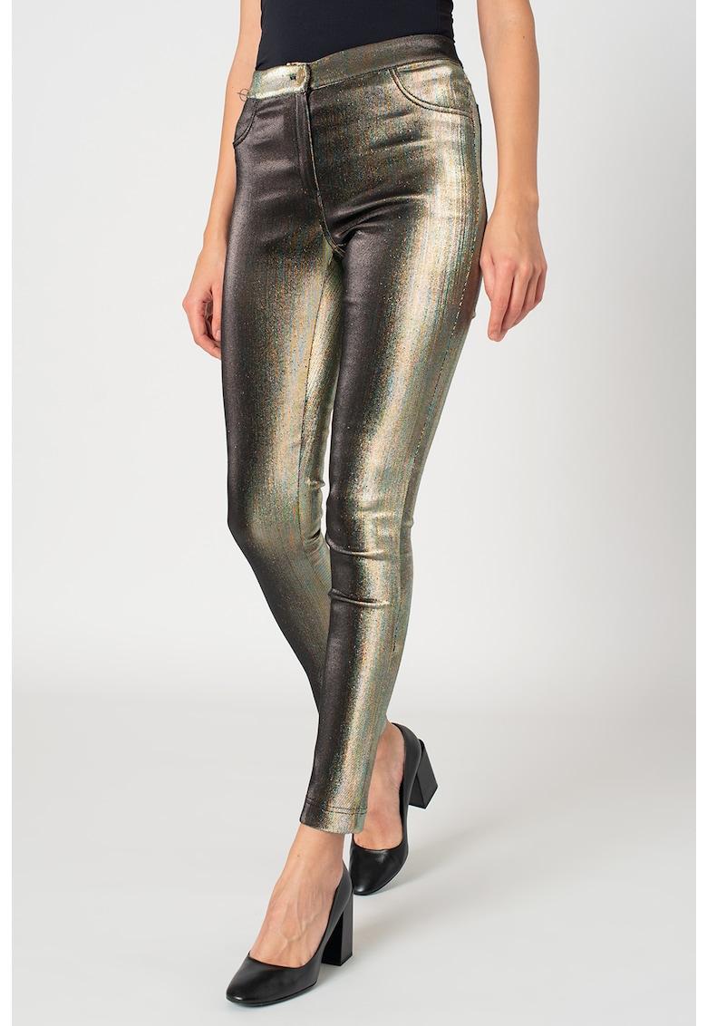 Pantaloni skinny cu aspect irizat