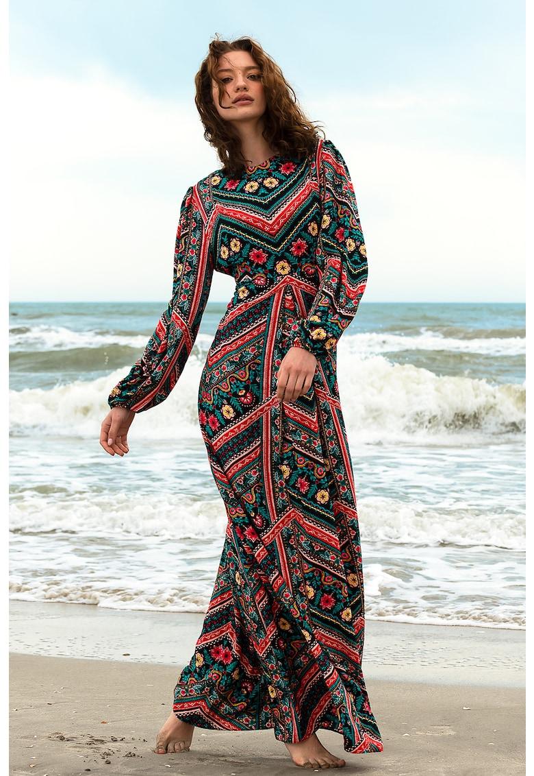 Rochie maxi cu maneci lungi si motive traditionale