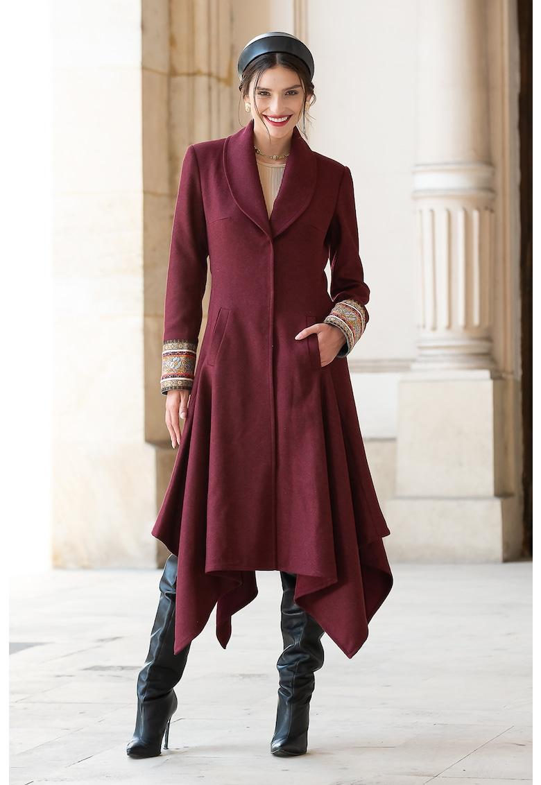 Palton lung din lana cu terminatie asimetrica