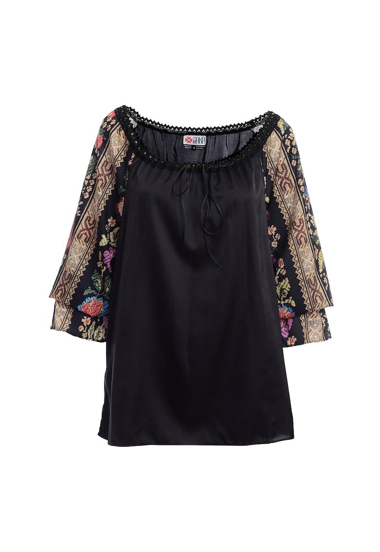 Bluza cu maneci cu model etnic floral