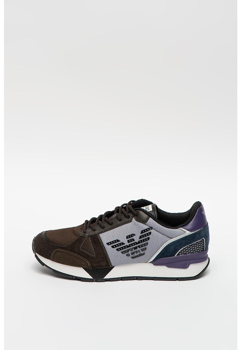 Pantofi sport cu model colorblock si imprimeu logo supradimensionat