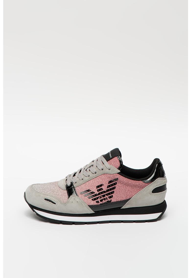 Pantofi sport din piele cu insertii stralucitoare