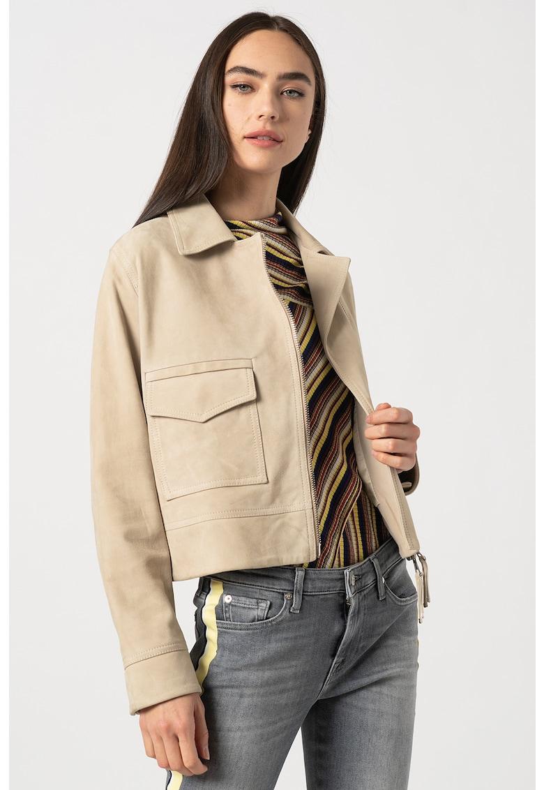 Jacheta de piele intoarsa cu buzunar aplicat