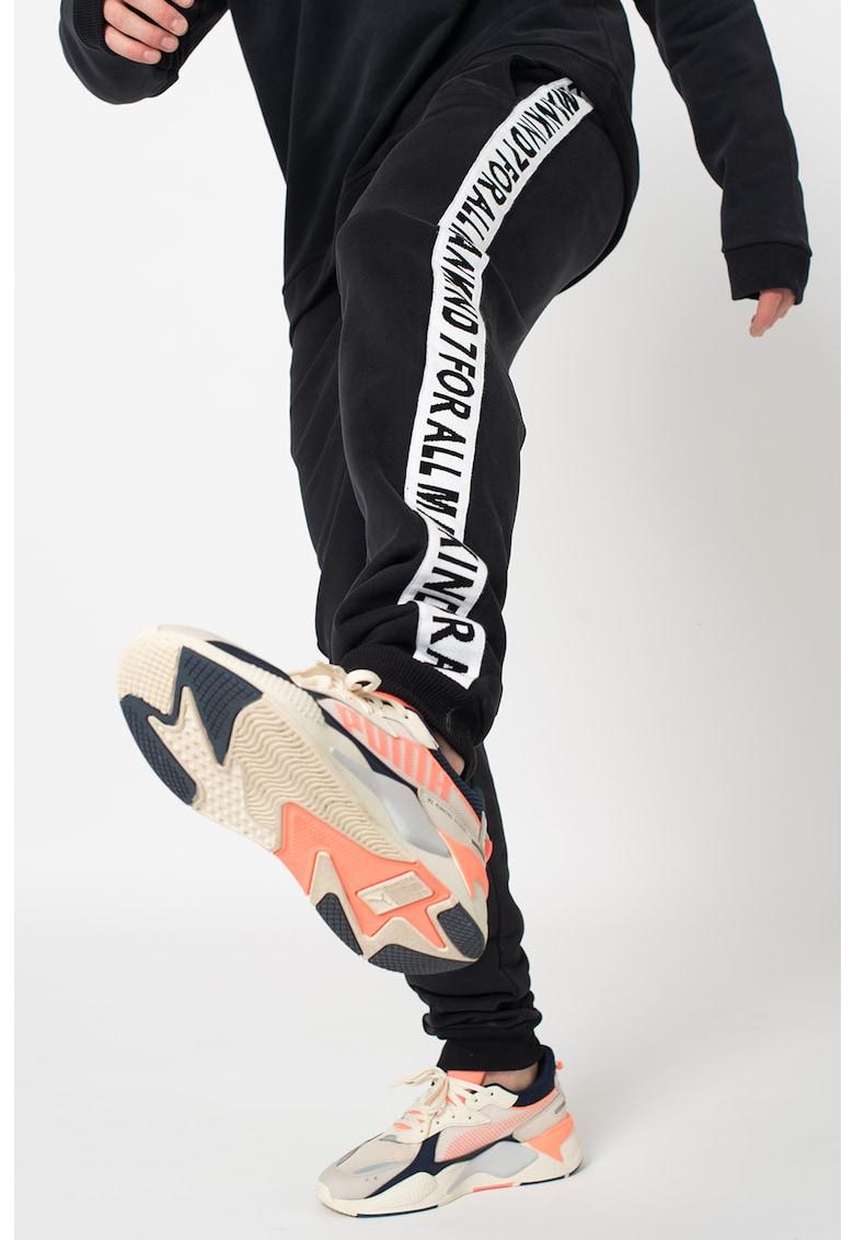 Pantaloni sport cu banda cu logo