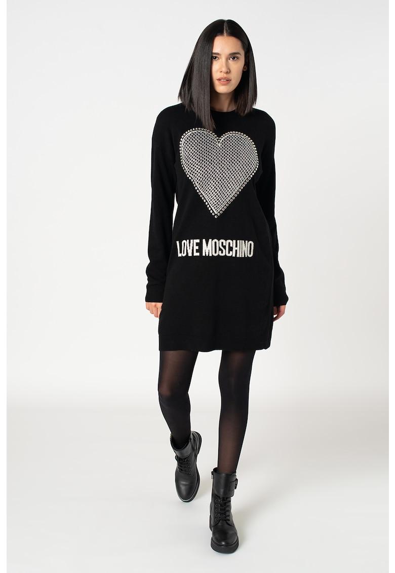 Rochie tip bluza sport din amestec de lana cu nituri si logo