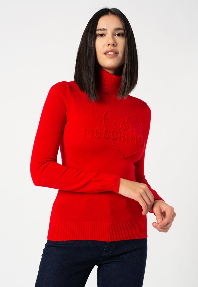 Pulover de lana cu guler inalt si aplicatie cu logo
