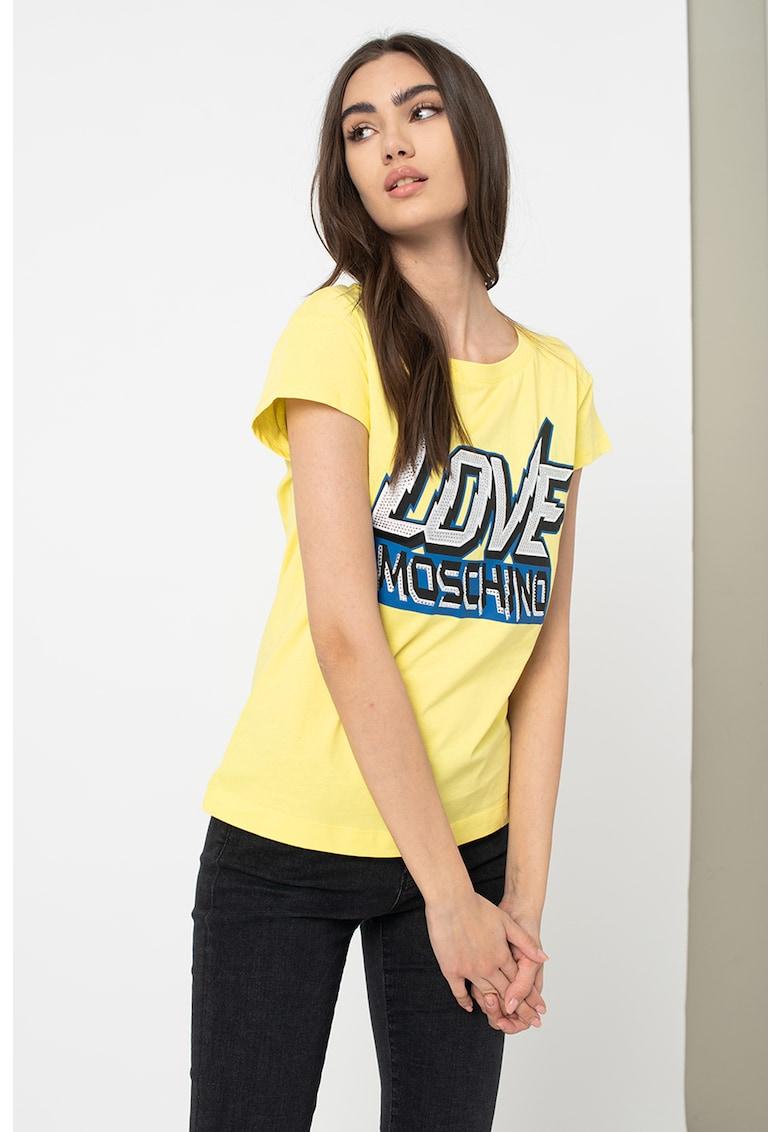 Tricou cu imprimeu logo supradimensionat Love Moschino fashiondays.ro
