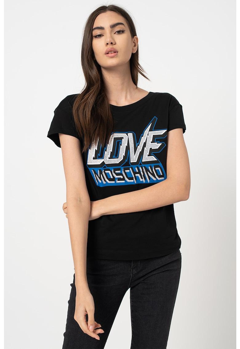 Tricou cu imprimeu logo supradimensionat