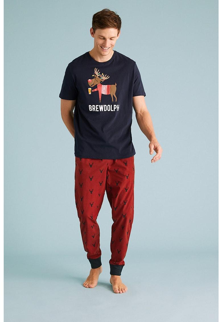 Pantaloni de pijama cu imprimeu si snur de ajustare imagine promotie