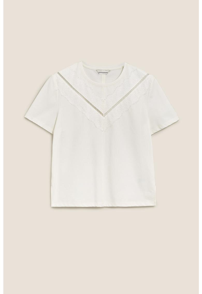 Bluza cu decolteu la baza gatului si insertii din dantela de la Marks  Spencer