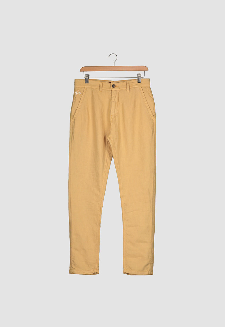 Pantaloni slim fit chino din amestec de in