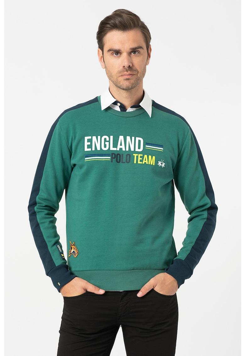 Bluza sport cu design colorblock si aplicatii decorative imagine