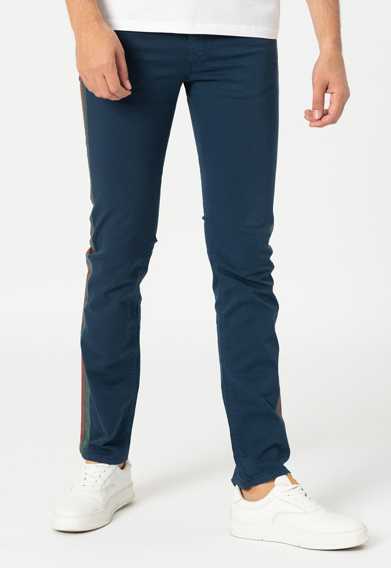 Pantaloni slim fit cu garnituri laterale contrastante