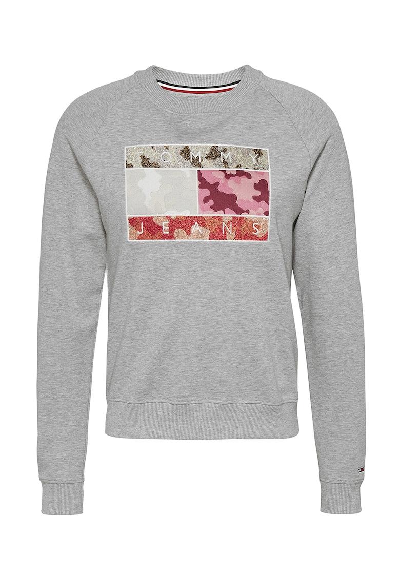 Bluza sport cu decolteu la baza gatului si broderie logo Tommy-Jeans imagine 2021