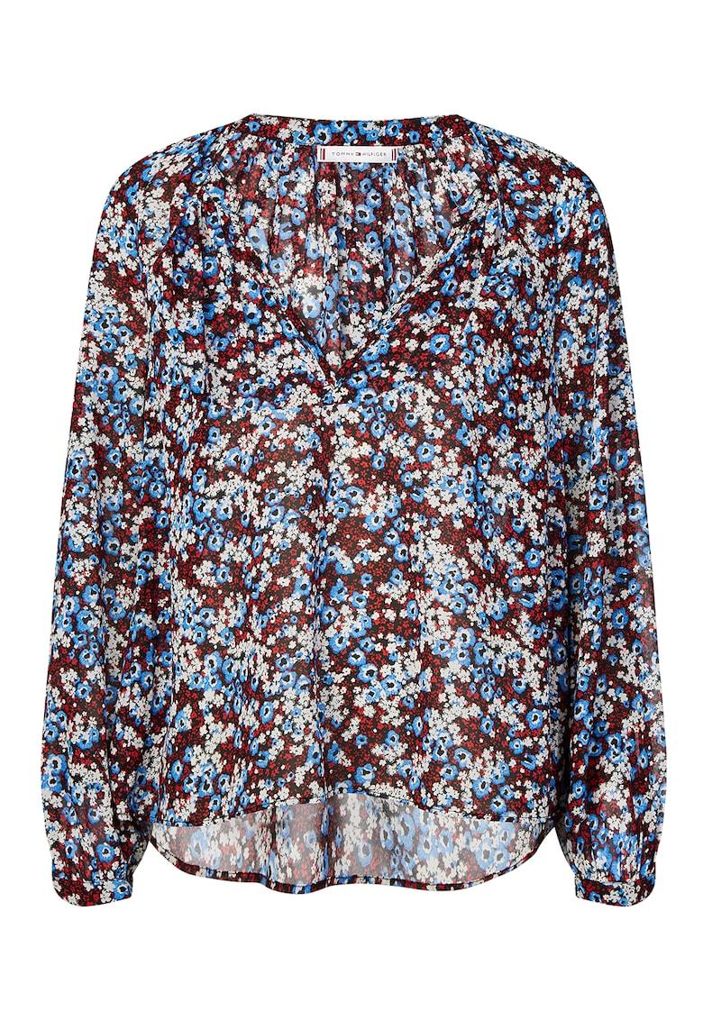 Bluza vaporoasa cu imprimeu si decolteu in V imagine