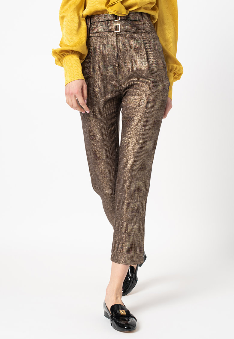 Pantaloni cu talie inalta si aspect stralucitor