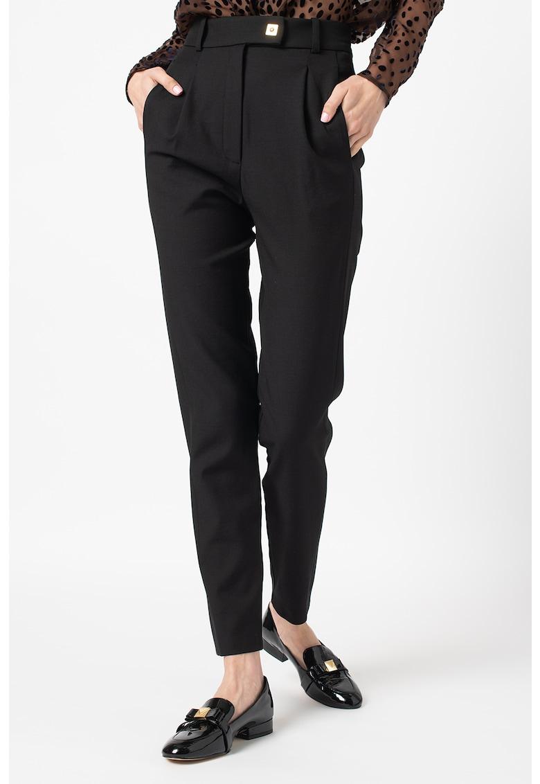 Pantaloni conici din amestec de lana cu talie inalta