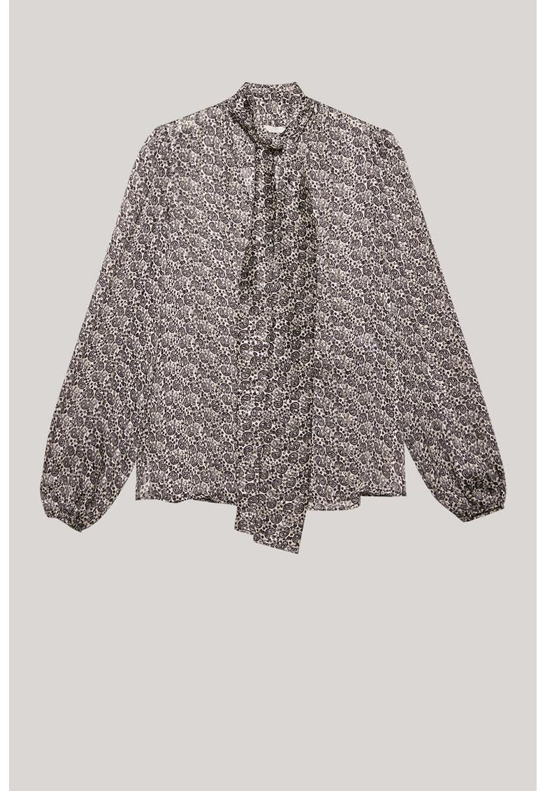 Bluza cu funda din panglici si imprimeu paisley imagine