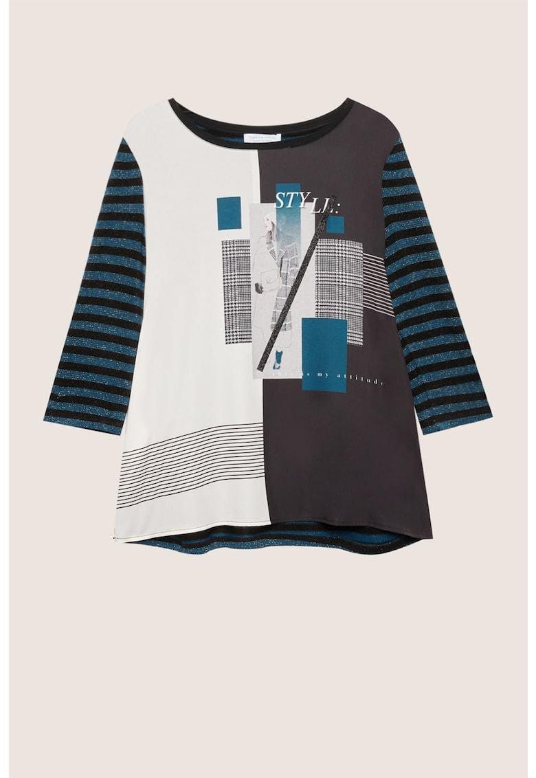 Bluza cu imprimeu si maneci in dungi imagine