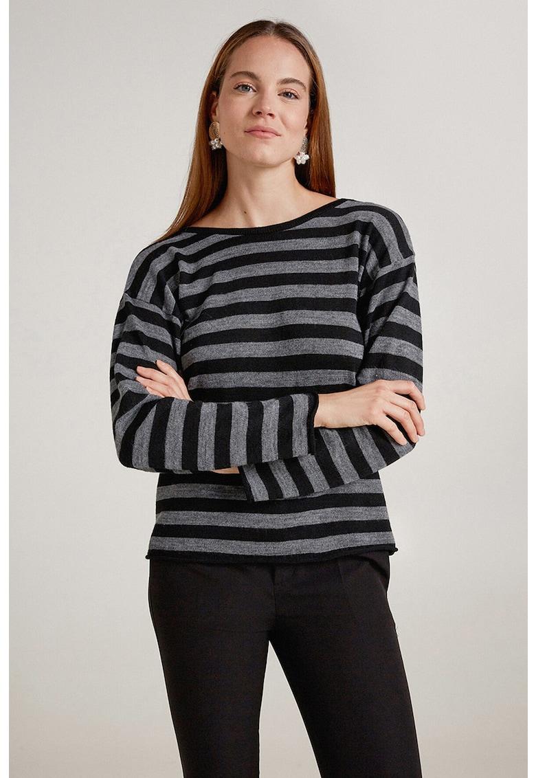 Pulover tricotat fin cu dungi si panglici imagine promotie
