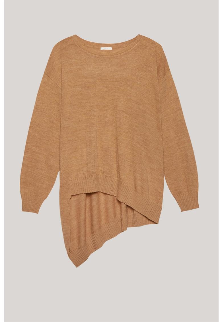 Pulover din amestec de lana cu terminatie asimetrica
