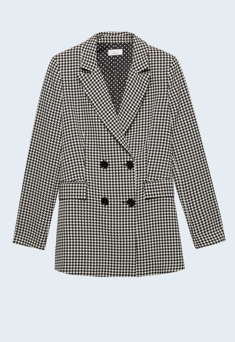 Sacou cu doua randuri de nasturi si model houndstooth imagine