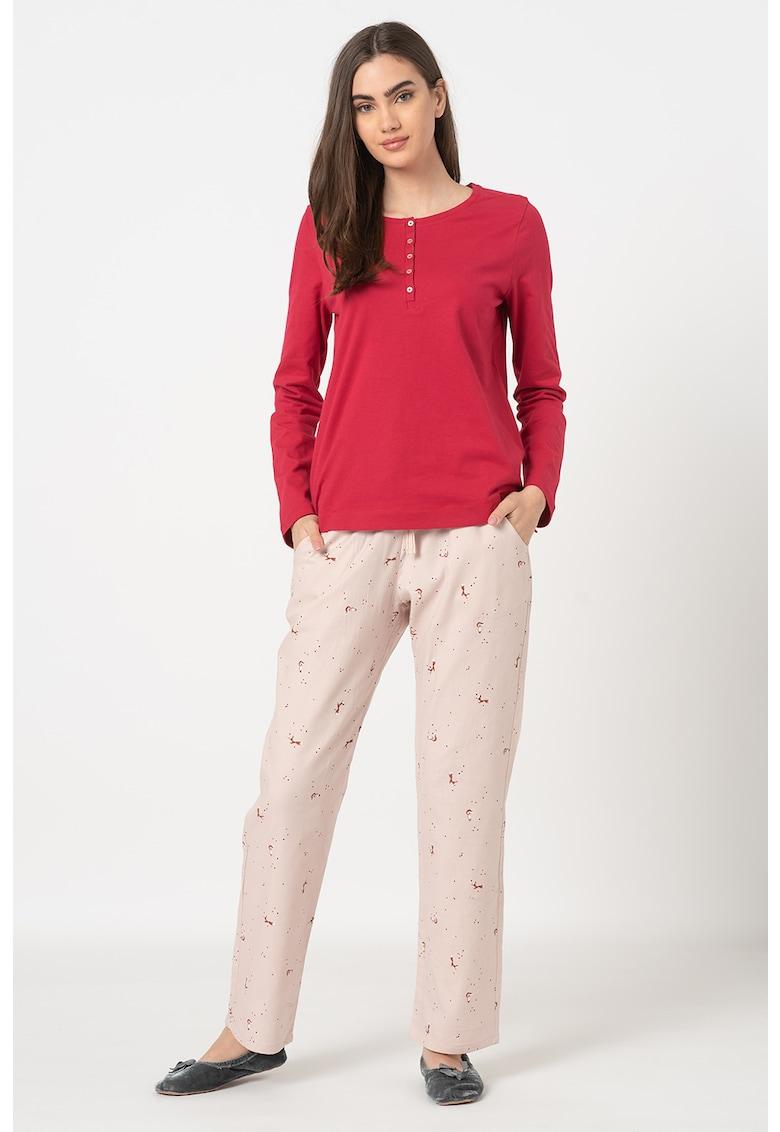 Pijama cu imprimeu discret cu vulpe Character