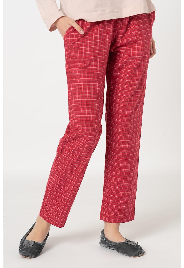 Pantaloni de pijama din flanel cu talie elastica poza fashiondays