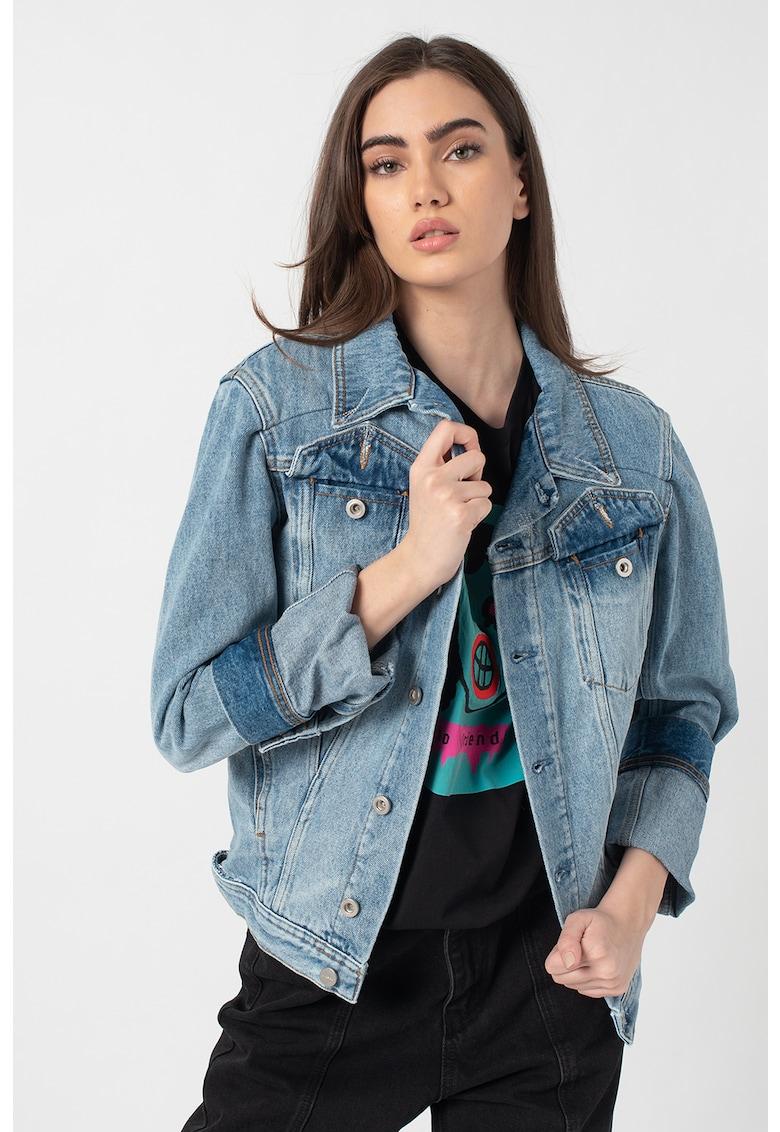 Jacheta din denim cu aspect decolorat De-Nalini