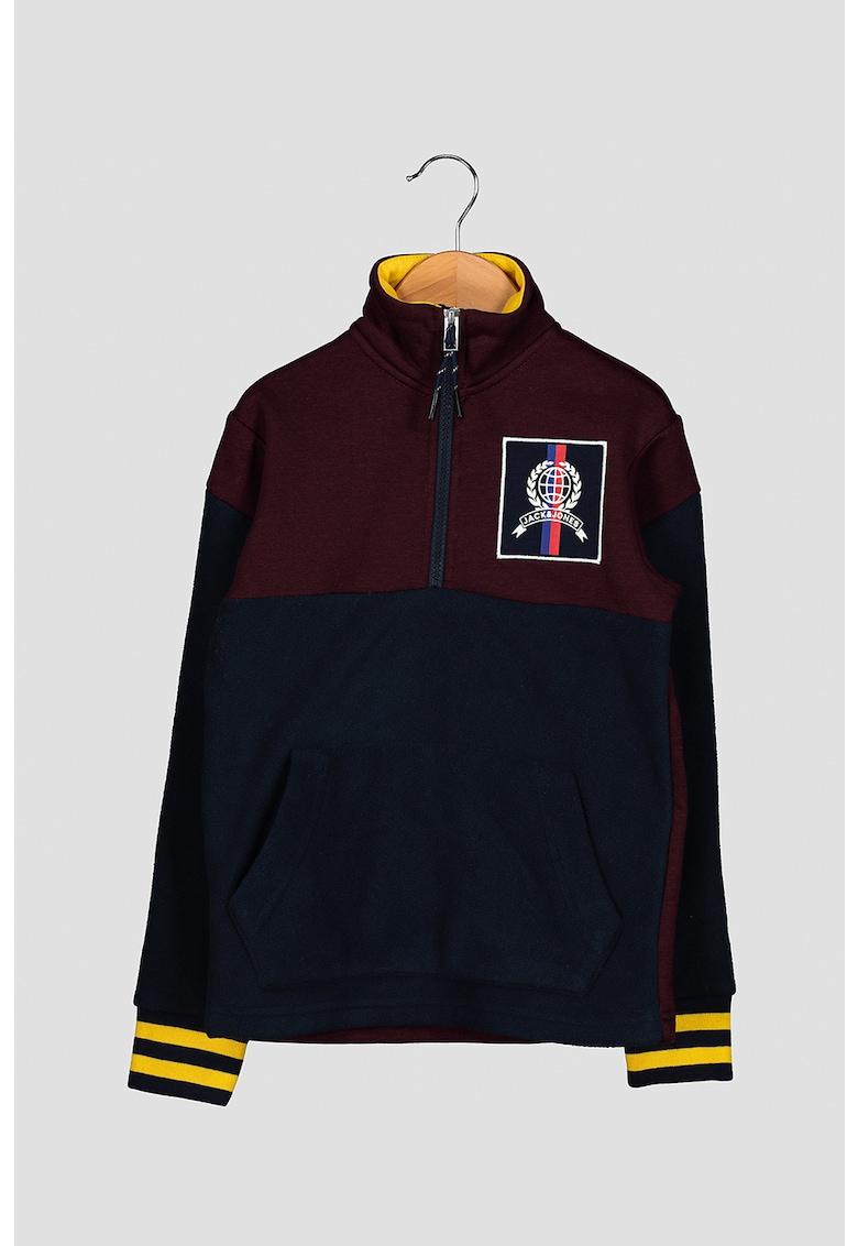 Bluza sport cu model colorblock si fenta cu fermoar fashiondays.ro
