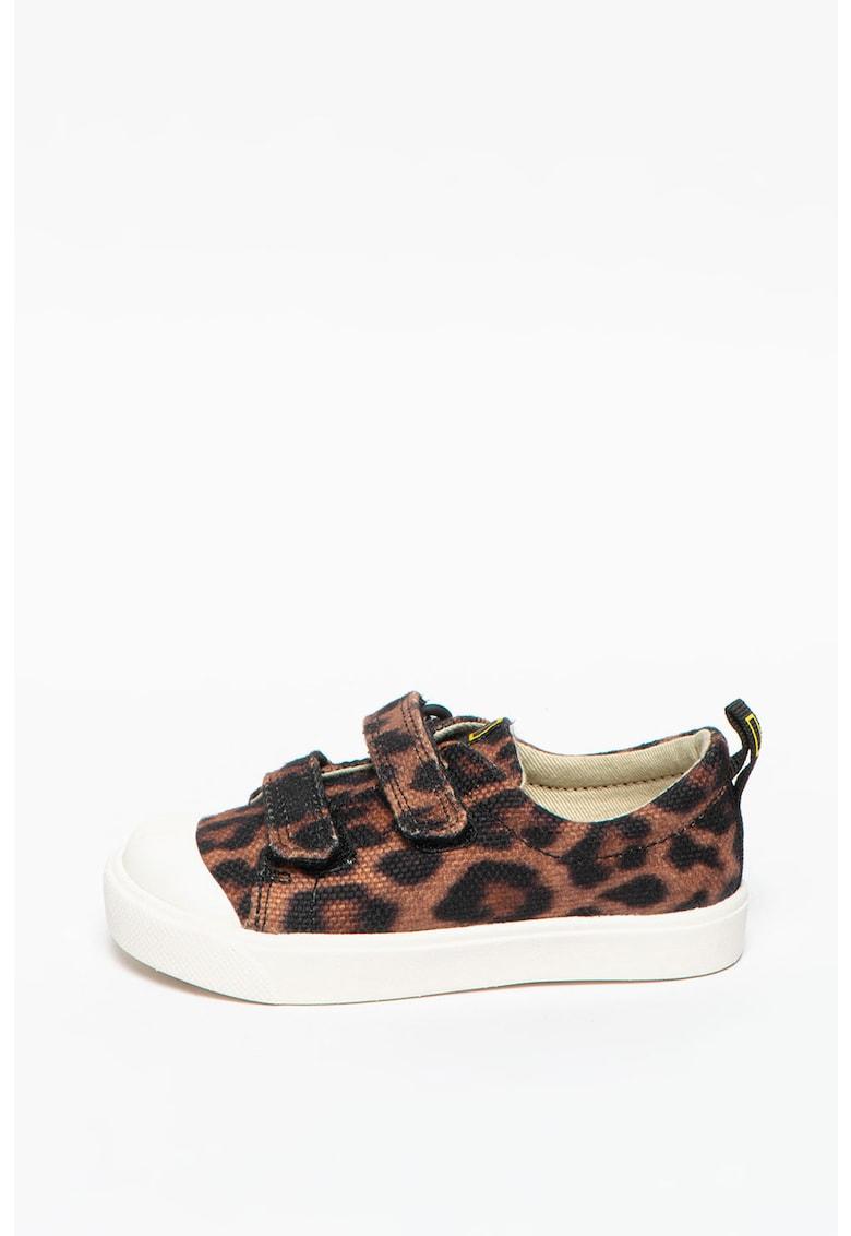 Pantofi sport cu inchidere velcro si animal print City Geo imagine promotie