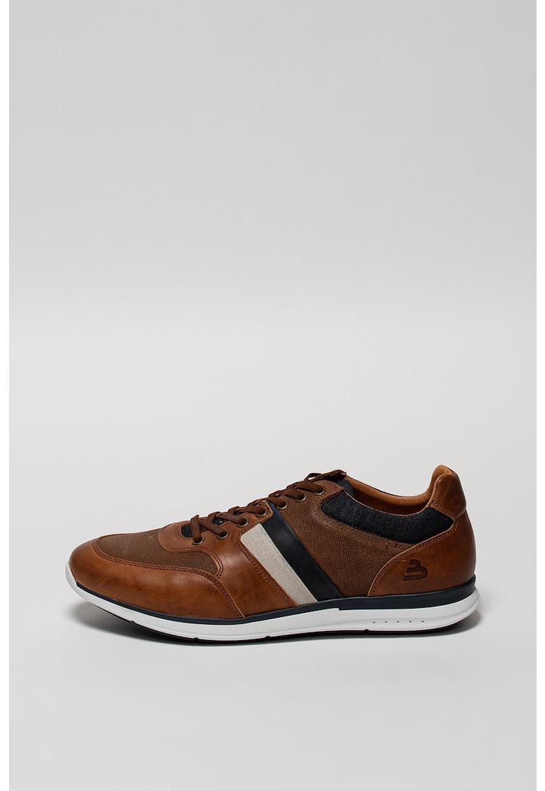 Pantofi casual cu garnituri de piele si denim